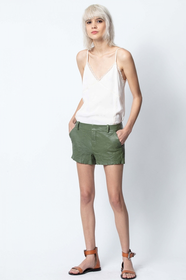 SIMIO CUIR FROISSE SHORT PANTS